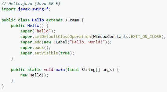 código de ejemplo en Java