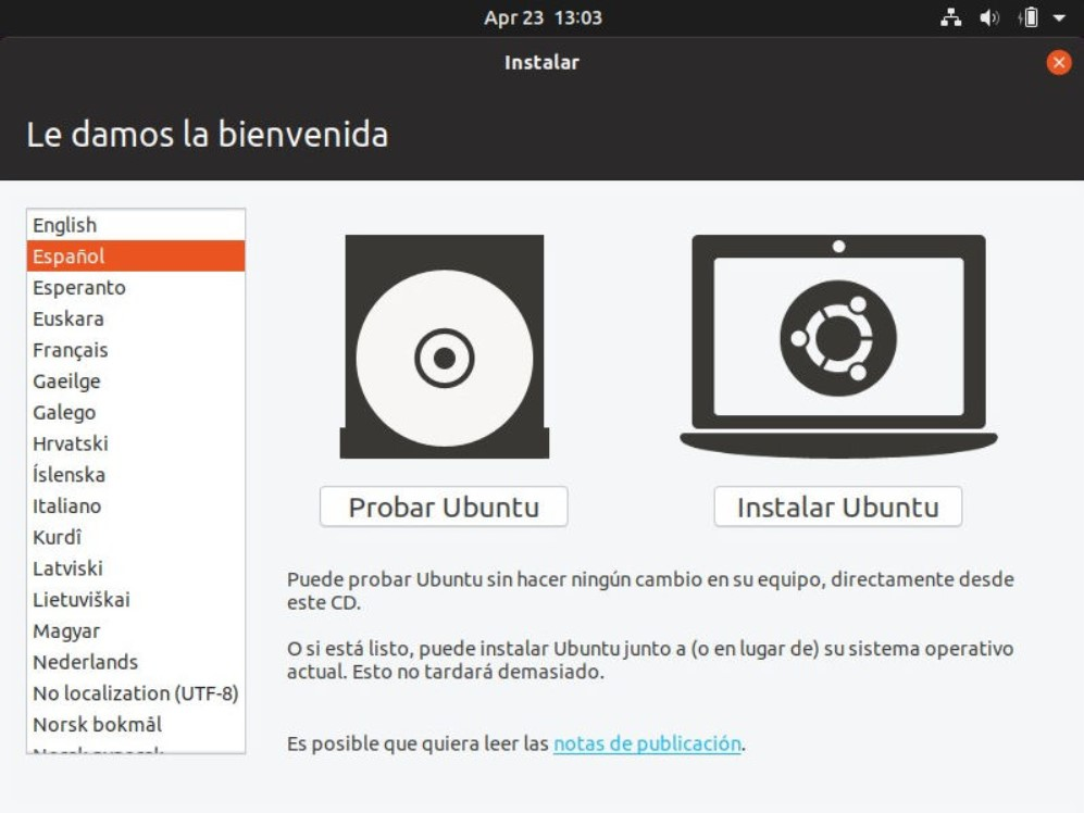 Intalación Ubuntu