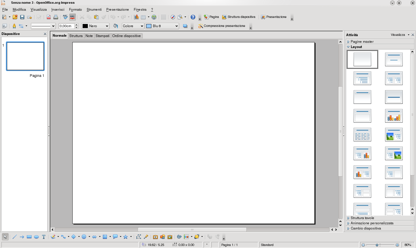 Interfaz de OpenOffice Base